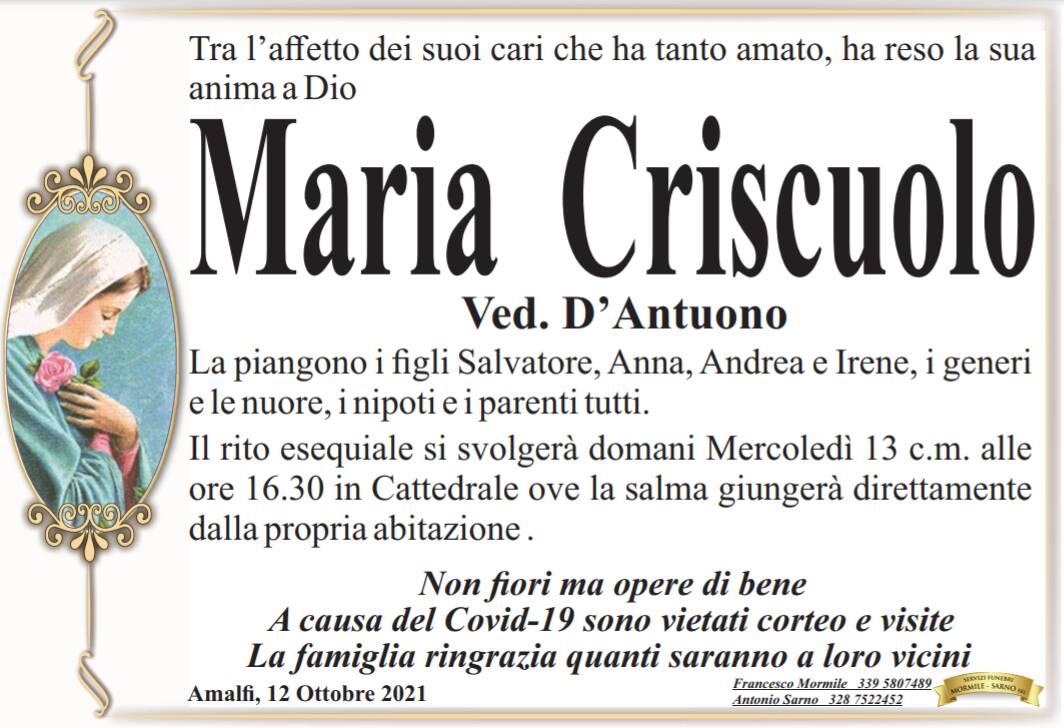 Amalfi: Maria Criscuolo, vedova D'Antuono, ha reso la sua anima a Dio