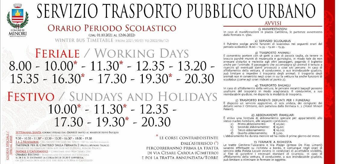 Minori: i nuovi orari del trasporto pubblico urbano in vigore da oggi