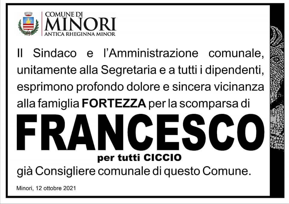 Minori, il cordoglio dell'Amministrazione Comunale per la scomparsa di Francesco Fortezza