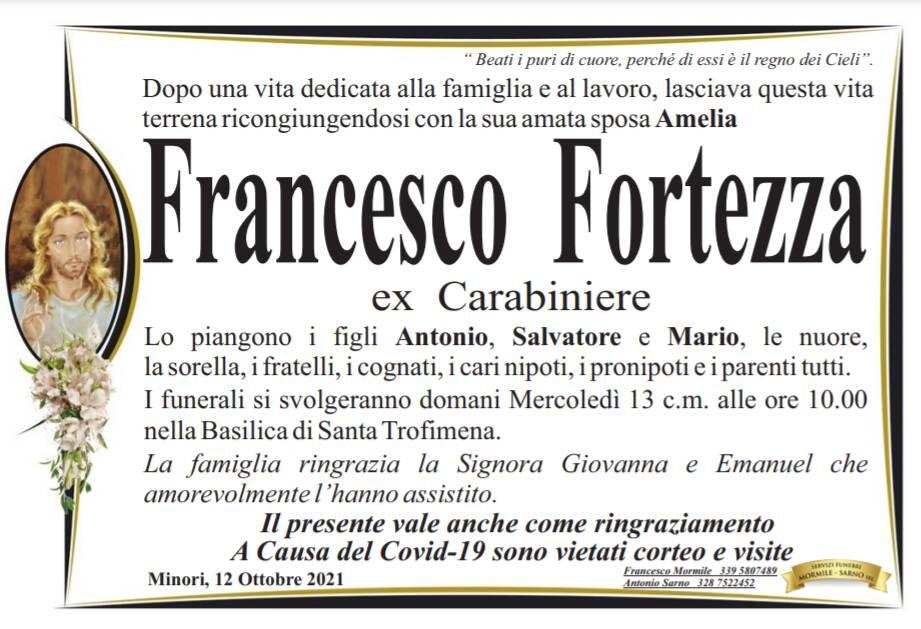 Minori in lutto per la scomparsa di Francesco Fortezza, ex Carabiniere