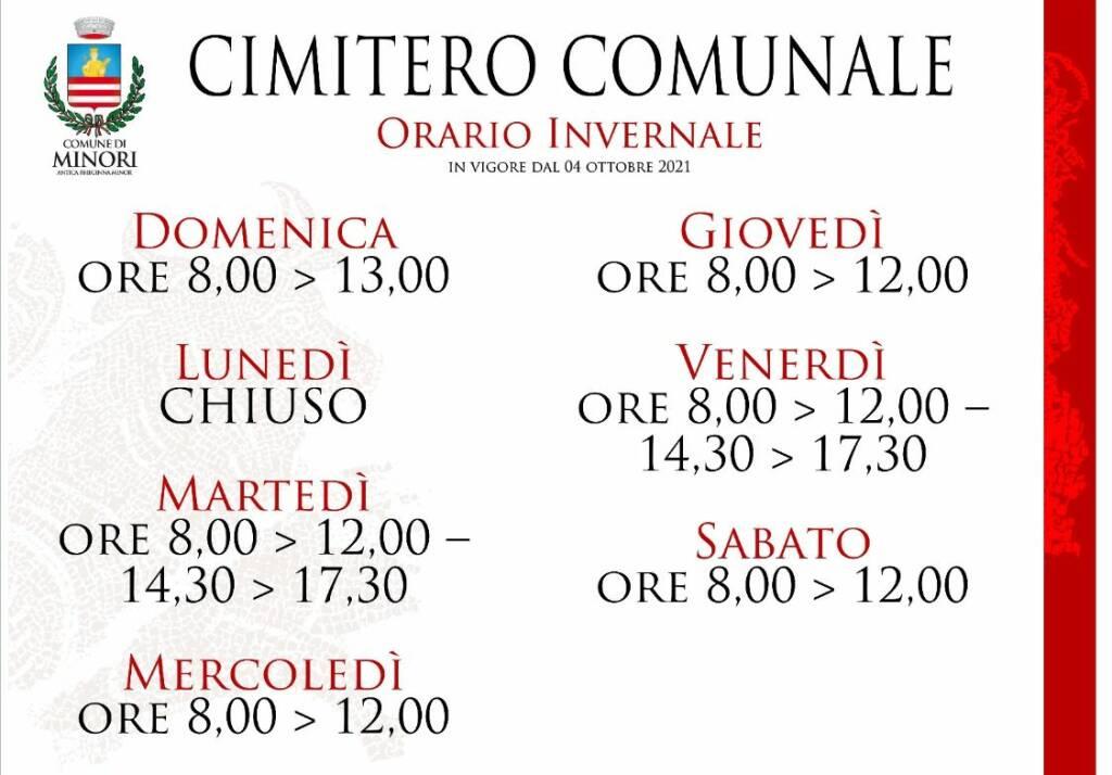Minori: l'orario di apertura invernale del Cimitero Comunale