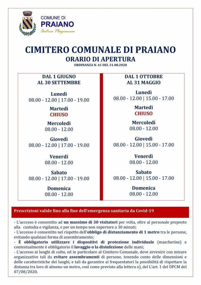 Praiano, gli orari di apertura del cimitero comunale dall'1 ottobre al 31 maggio
