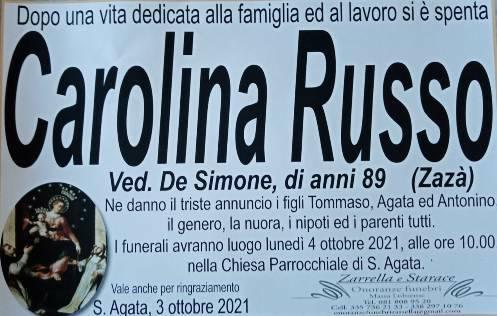 Sant'Agata ha salutato per l'ultima volta l'89enne Carolina Russo, per tutti Zazà