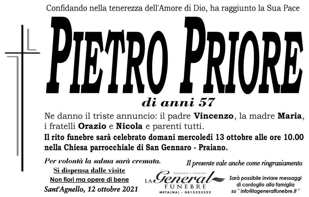 Sant'Agnello piange Pietro Priore, scomparso all'età di 57 anni