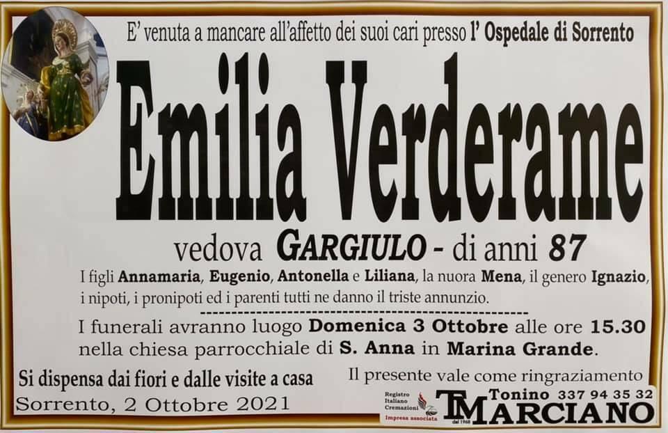 Sorrento porge l'ultimo saluto all'87enne Emilia Verderame, vedova Gargiulo