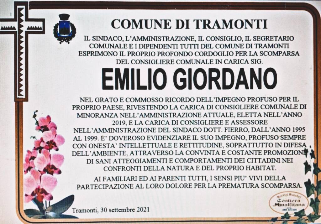 Tramonti, oggi i funerali del consigliere Emilio Giordano. Proclamato il lutto cittadino